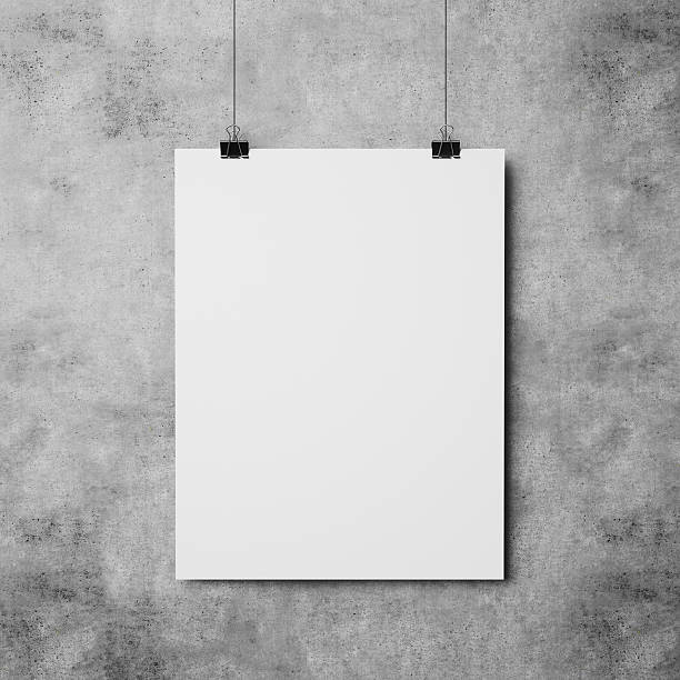 white poster on concrete wall background – Foto