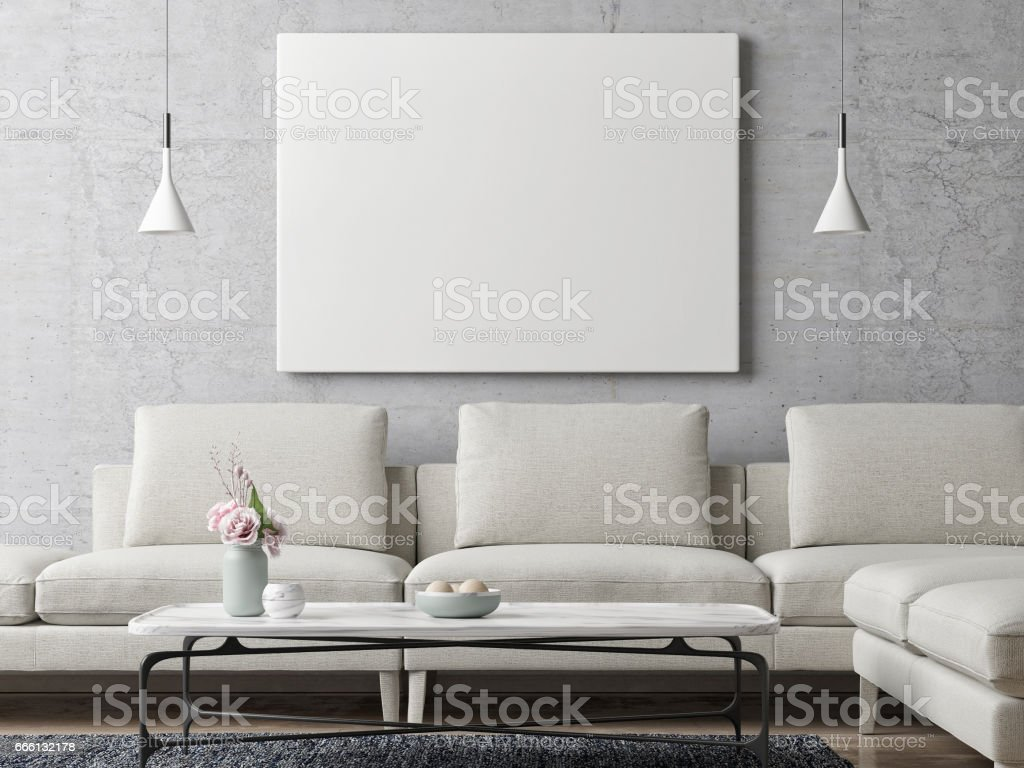 White poster on concrete wall, living room background - foto stock
