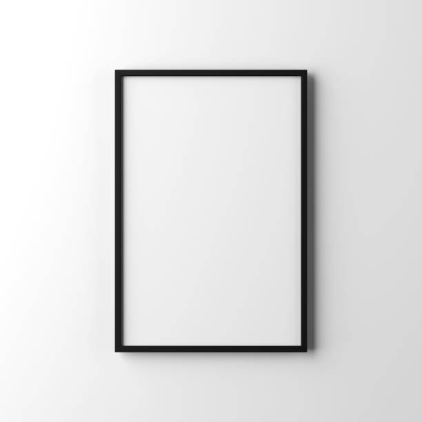 white poster with black frame mockup hanging on the wall - poster stock pictures, royalty-free photos & images