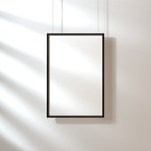 White poster with black frame mockup hanging on the wall with shadows
