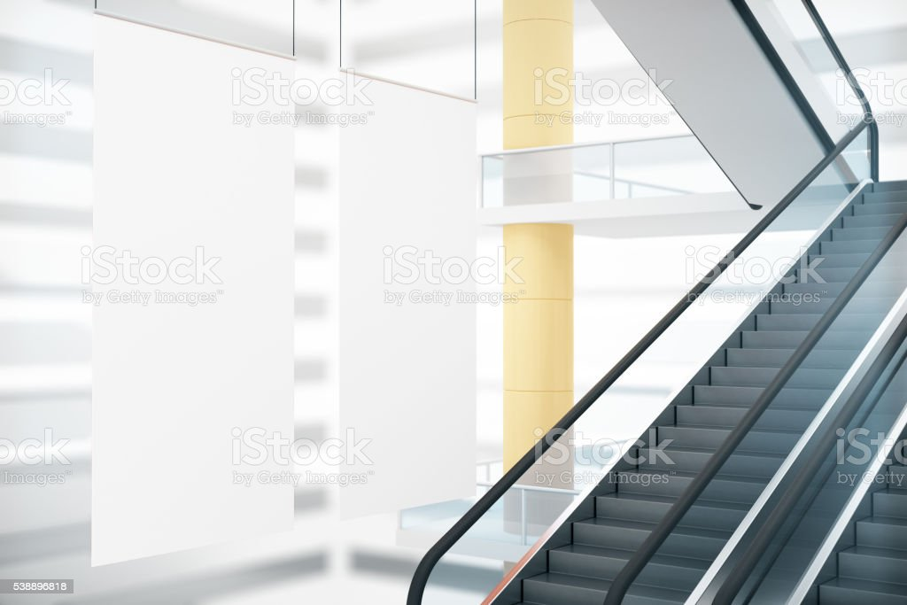 White posters and staircase stock photo