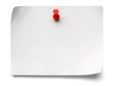 Note paper with red pin, isolated on white