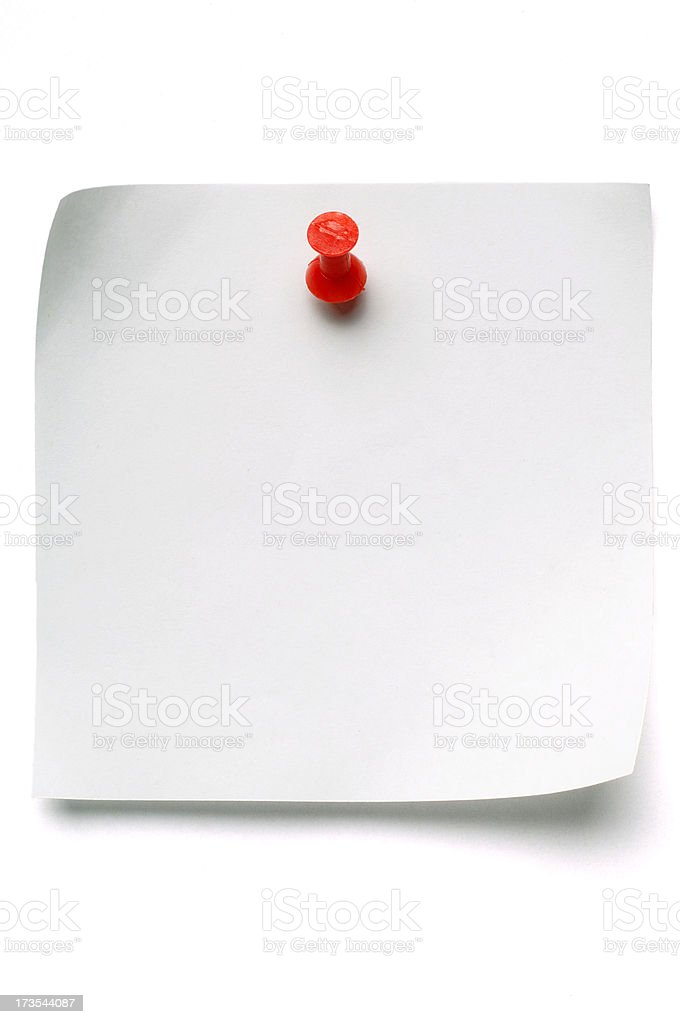White Post-it Note with Push Pin royalty-free stock photo