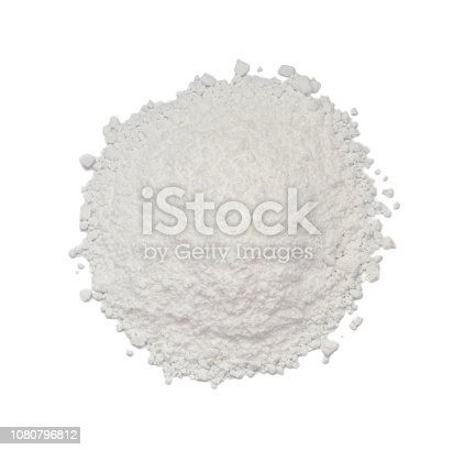 White Powder of Concrete, Clay or Bentonite Isolated on White Background Topview. Macro Photo of Powdered Chemicals as Calcium, Gypsum or Plaster Top View