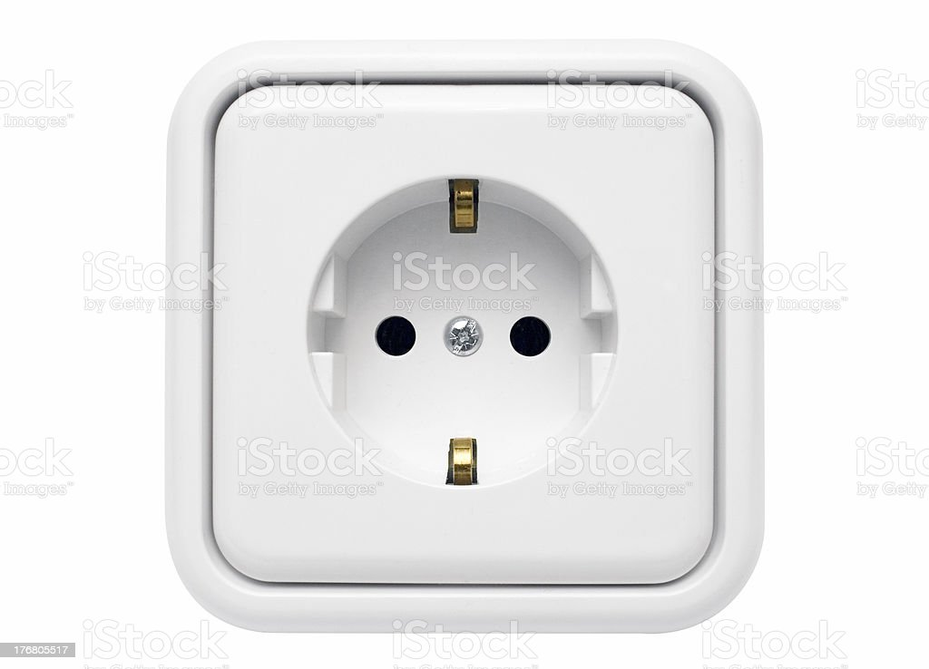 White Power Outlet w/ Path royalty-free stock photo