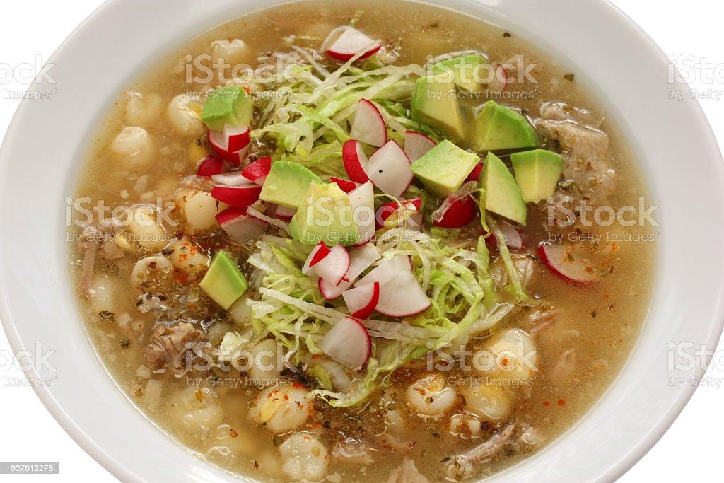 white pozole, mexican soup cuisine stock photo