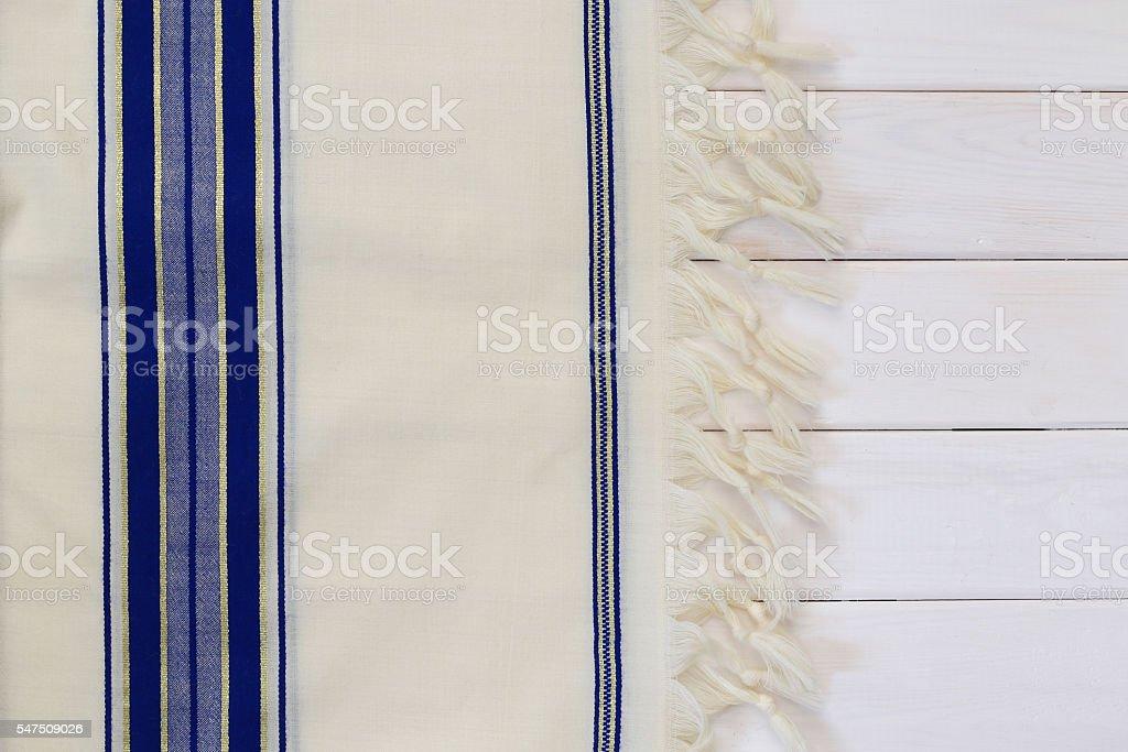 White Prayer Shawl - Tallit, jewish religious symbol stock photo