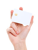 istock White prepaid card in woman's hand 160479902