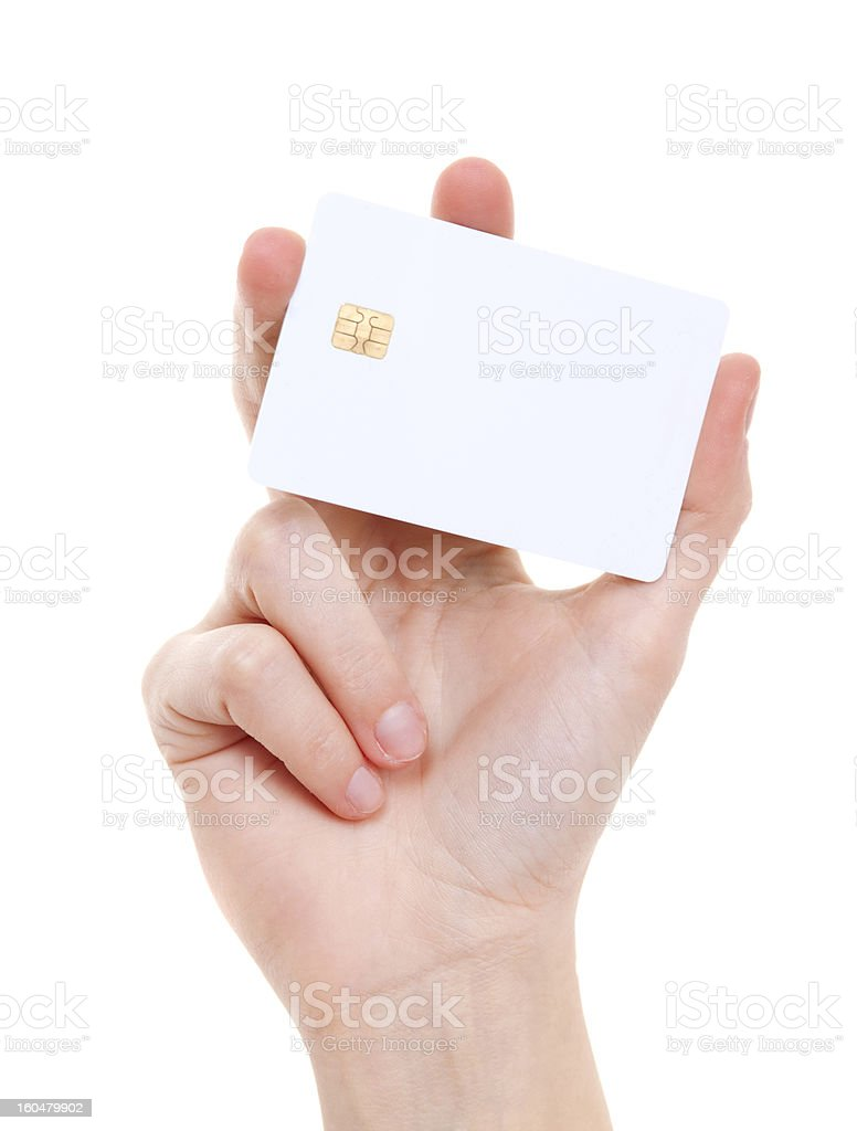 White prepaid card in woman's hand stock photo