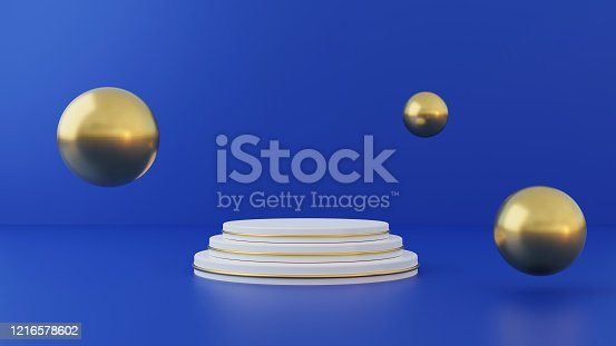 1136239089 istock photo White product stand on blue background. Abstract minimal geometry concept. Studio podium platform theme. Exhibition and business marketing presentation stage. 3D illustration rendering graphic design 1216578602