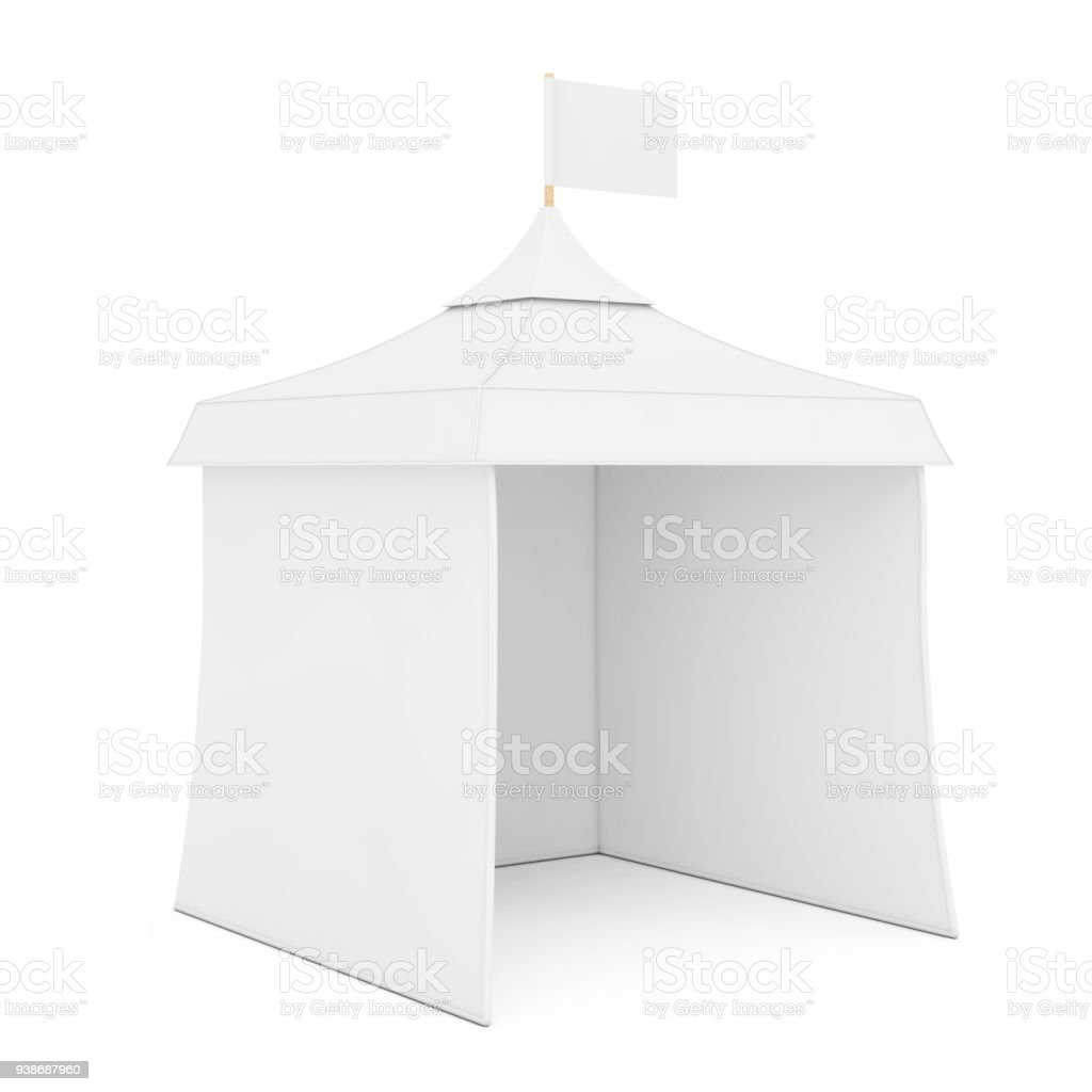 Exhibition Stall Mockup : White promotional advertising outdoor event trade show mockup tent