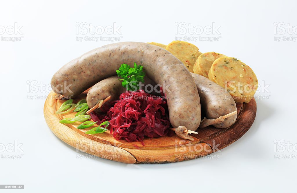 white puddings with dumplings and sauerkraut royalty-free stock photo