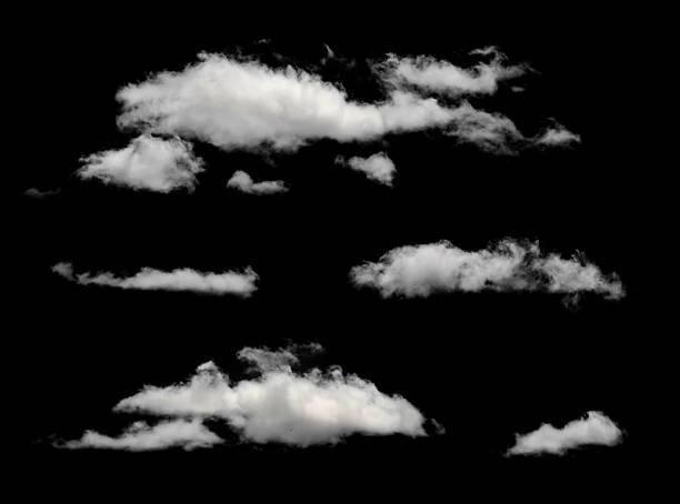 white puffy clouds in a black background - clouds 個照片及圖片檔