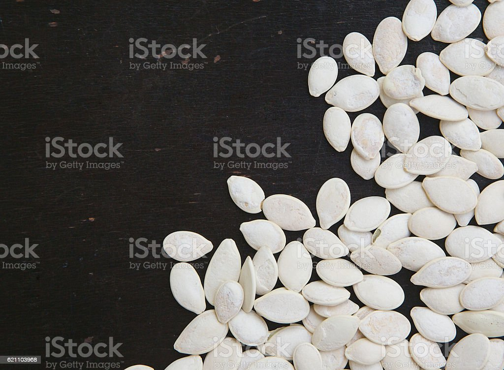White pumpkin seeds. stock photo