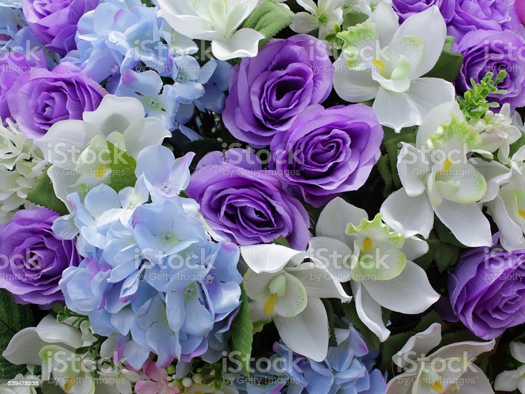 White Purple And Blue Artificial Flower Background Stock Photo