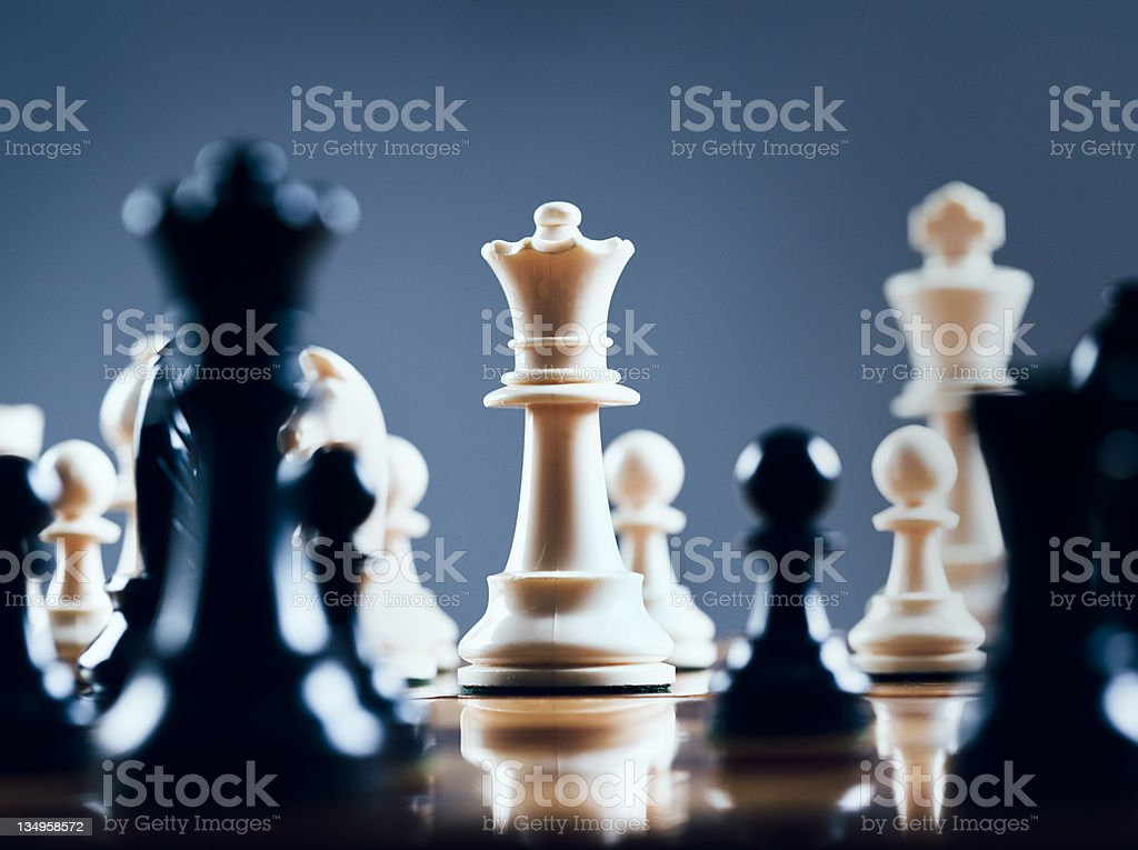 White queen rules the board stock photo