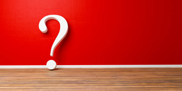 Weißes Fragezeichen am roten konkrete Grunge Wall – Foto