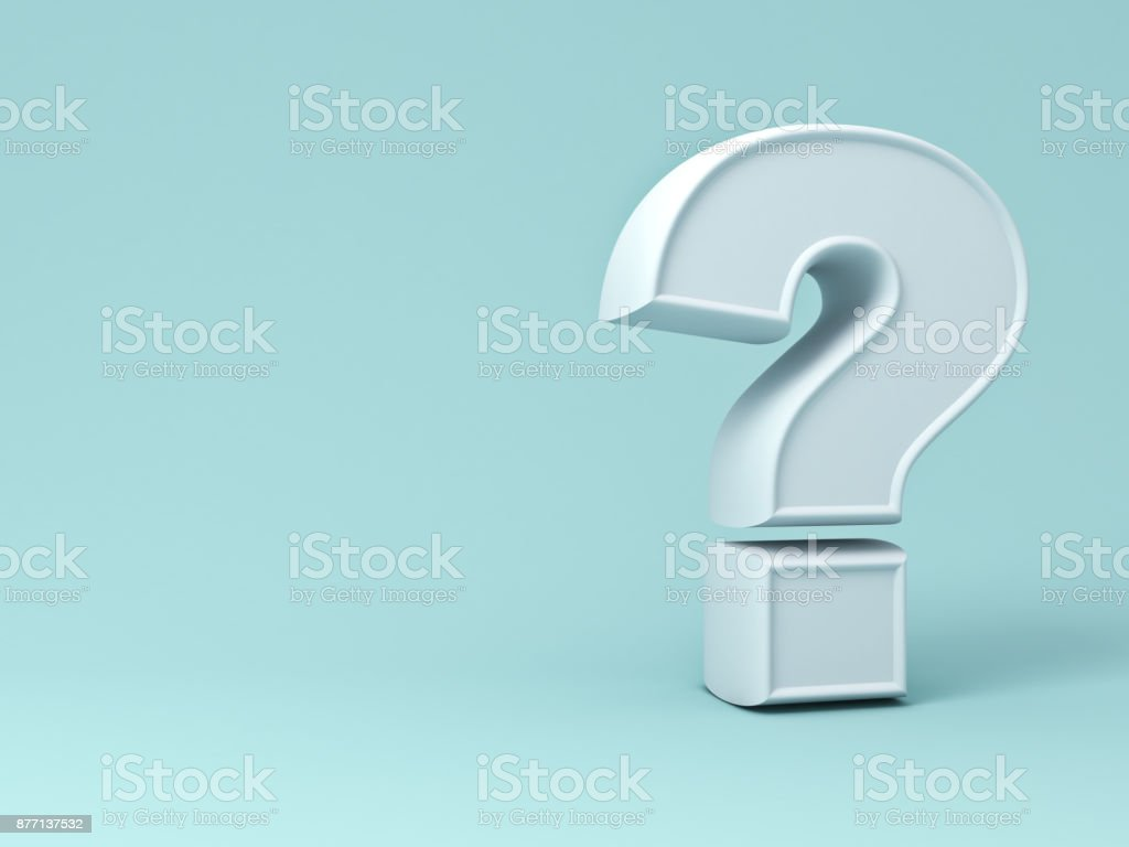 White question mark on green pastel color background with blank space and shadow . 3D rendering stock photo