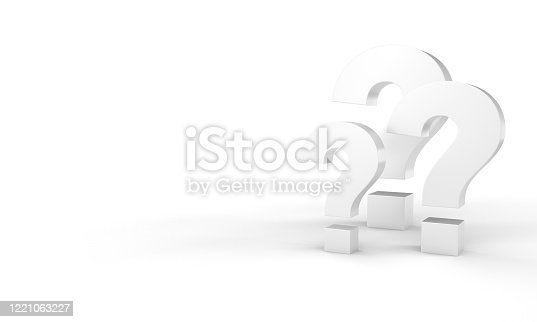 3D render of a question marks on a white background