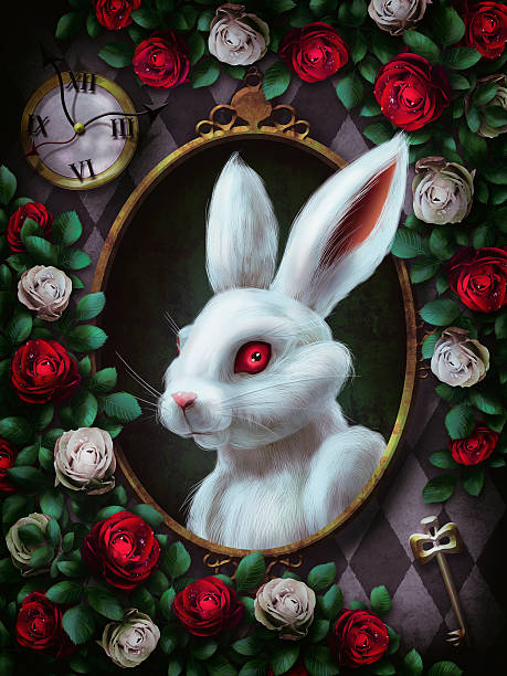 White rabbit from Alice in Wonderland stock photo