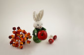 Easter bunny on a white background. Autumn still life with a rabbit