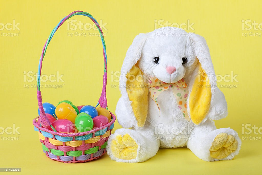 White Rabbit with Easter Basket stock photo