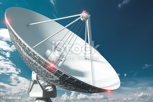 White Radio Telescope, a large satellite dish on a background of blue sky, radar. Technology concept, search for extraterrestrial life, wiretap of space. Mixed medium, copy space