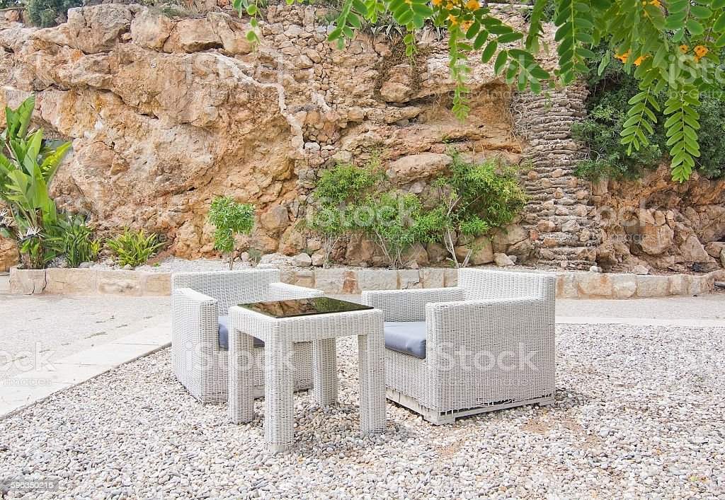 White rattan furniture Lizenzfreies stock-foto