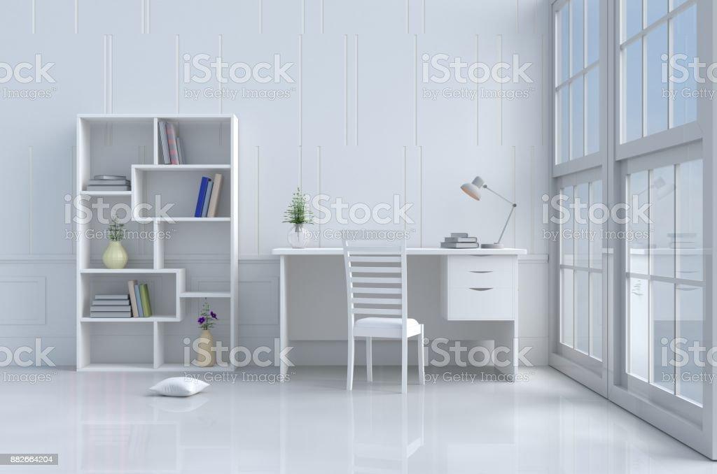 Weiße Lesesaal Eingerichtet Mit Baum In Vase Kissen Weißen Stuhl Und ...