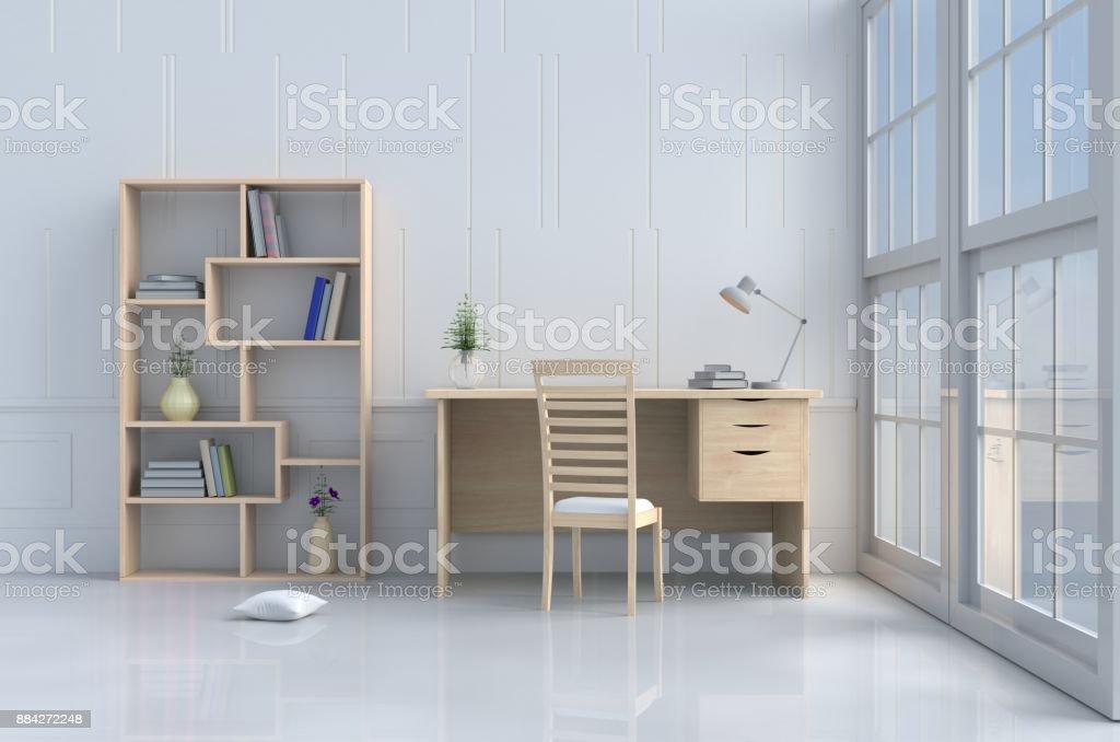 Salle de lecture blanc orné darbre en vase oreiller chaise en bois