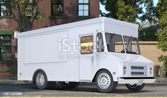 White Blank Realistic Food Truck With Closed Window. Modern Cityscape. Takeaway Food And Drinks. Mock Up. Copy Space, Empty Space. 3d rendering. Side View
