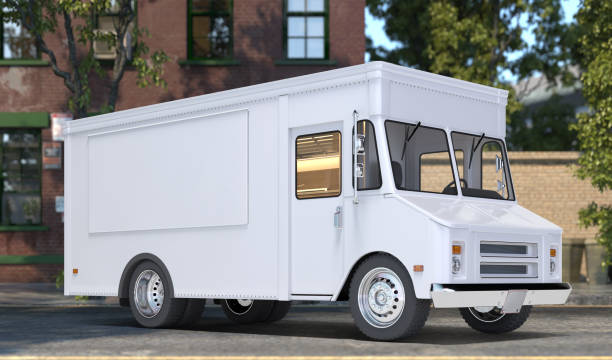 White Realistic Food Truck With Closed Window. Modern Cityscape. Takeaway Food And Drinks. Mock Up. Copy Space, Empty Space. 3d rendering. White Blank Realistic Food Truck With Closed Window. Modern Cityscape. Takeaway Food And Drinks. Mock Up. Copy Space, Empty Space. 3d rendering. Side View food truck stock pictures, royalty-free photos & images