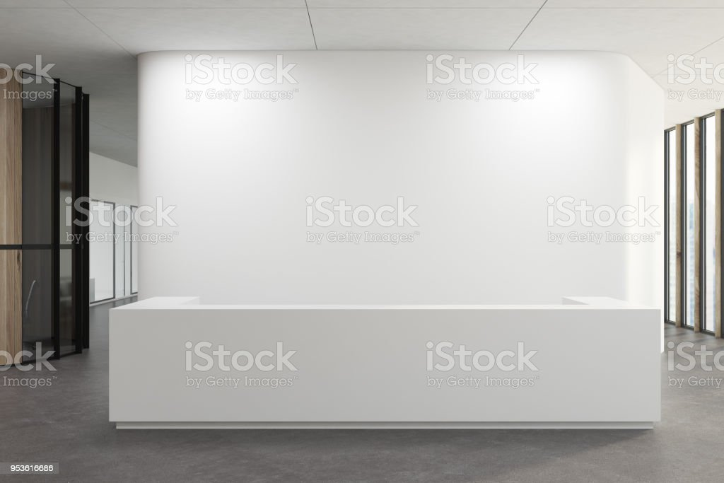 White reception in a white office lobby stock photo
