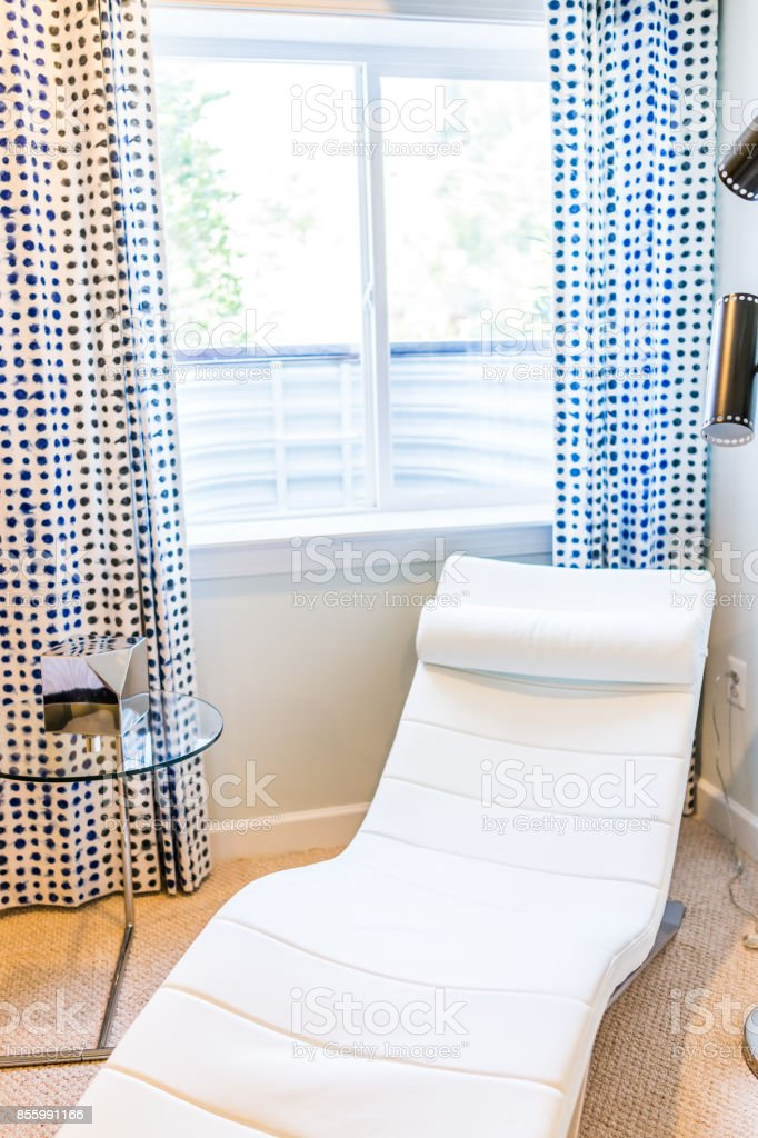 White Reclining Chaise Lounge Chair In Indoor Room By Bright Sunny Window With Curtains Standing Lamps Table In Home House Or Apartment Stock Photo Download Image Now Istock