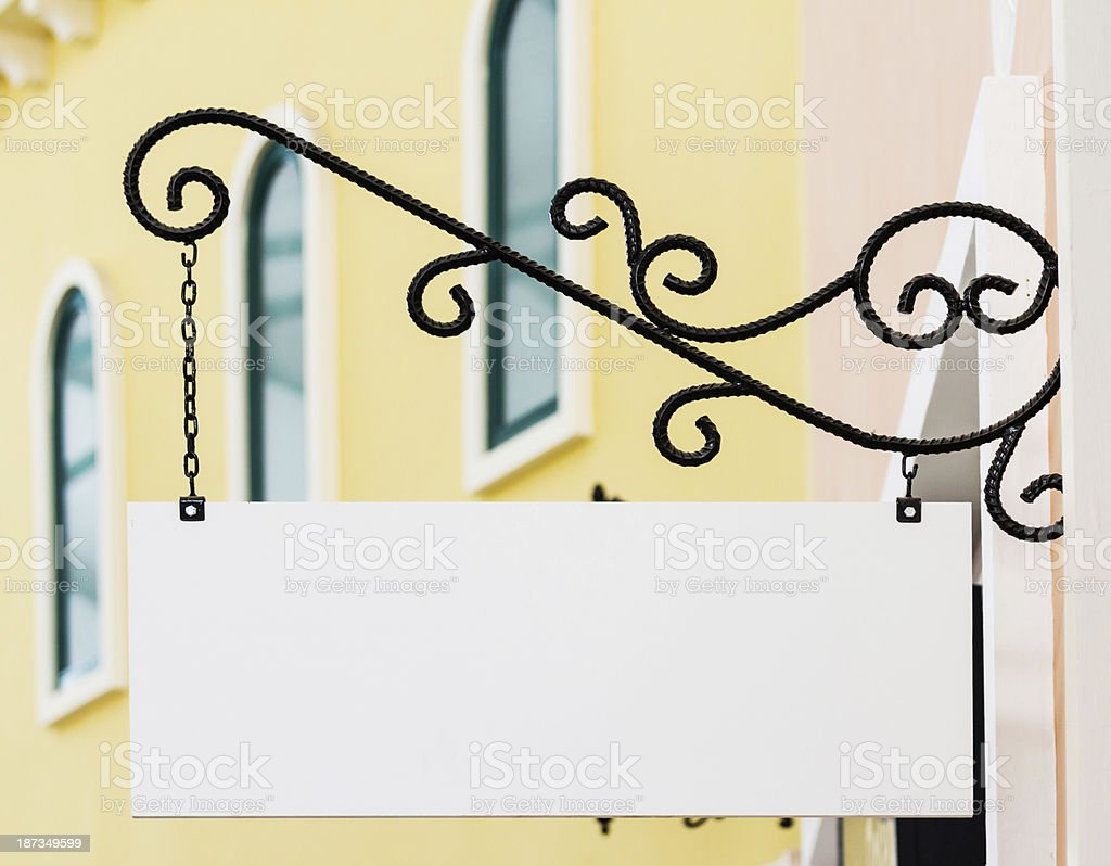 white rectangle shop sign stock photo