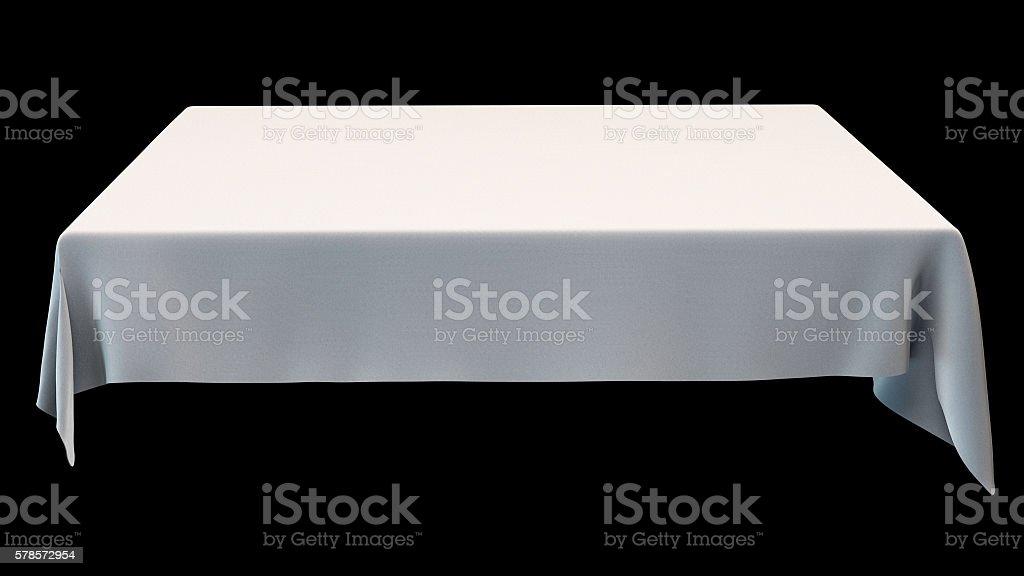White rectangular tablecloth mockup isolated on black. 3d illustration. stock photo