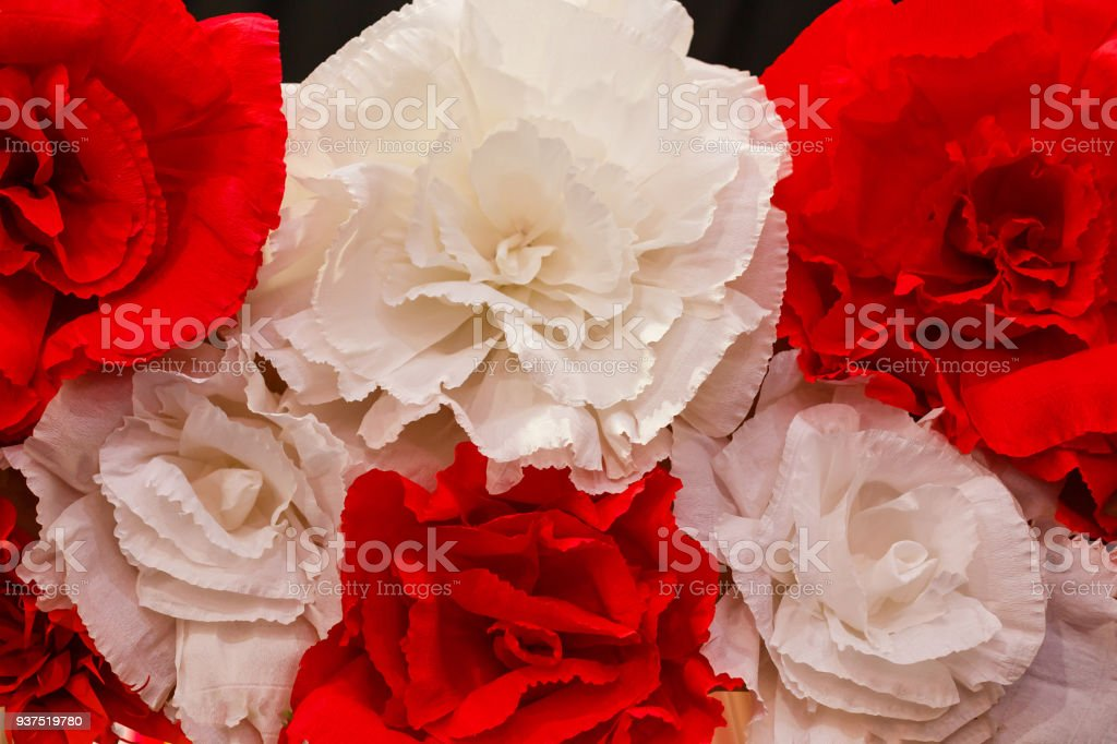 white red artificial roses. Objects close up. stock photo