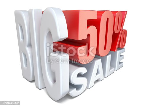 istock White red big sale sign PERCENT 50 3D 978633902