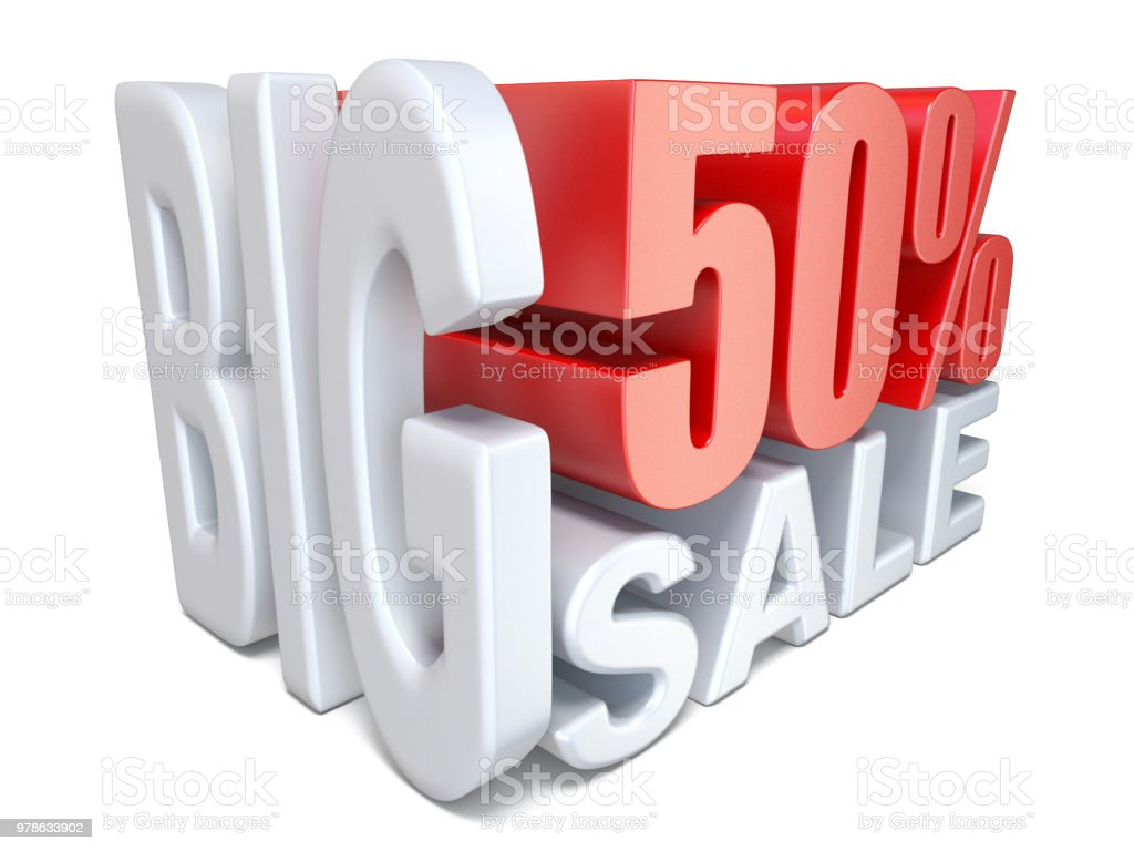 White red big sale sign PERCENT 50 3D stock photo