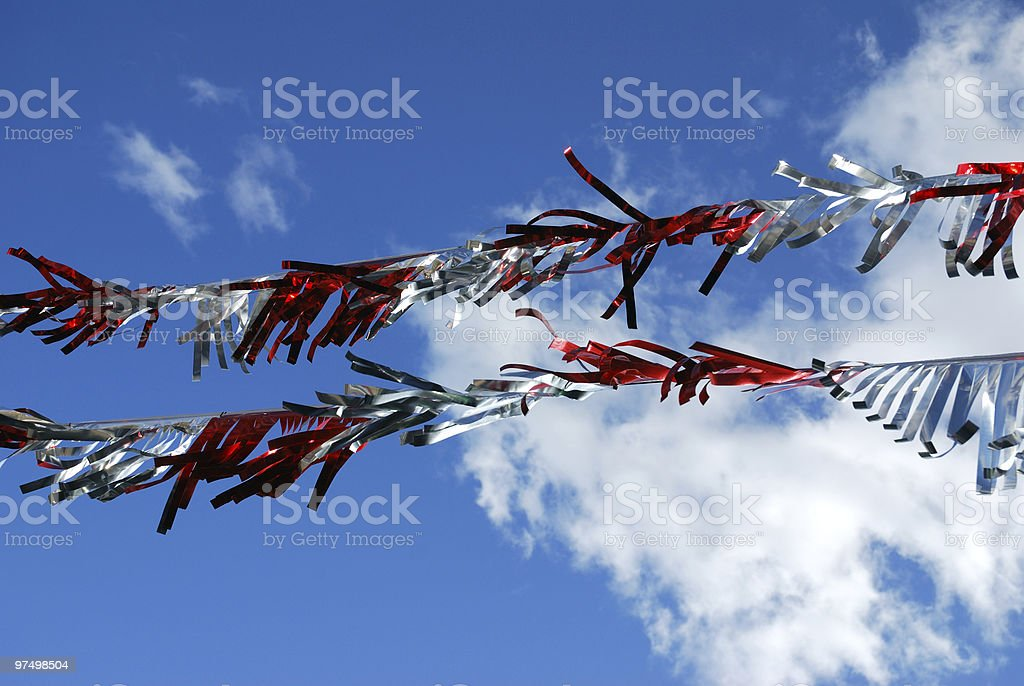 White & Red Decoration on the blue sky royalty-free stock photo