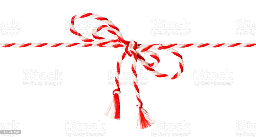 White Red Rope Bow, Twine Ribbon and Tied Knot White Isolated stock photo