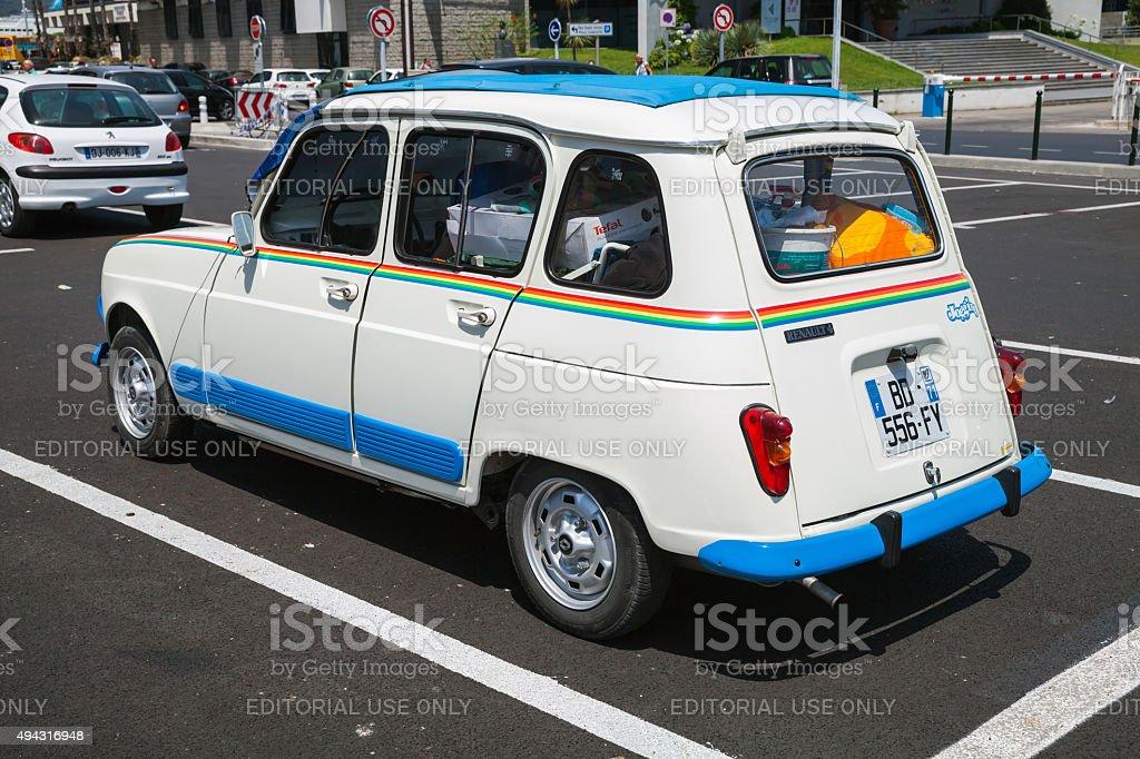 White Renault 4 retro city car, rear view