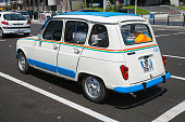 White Renault 4 retro city car, rear view