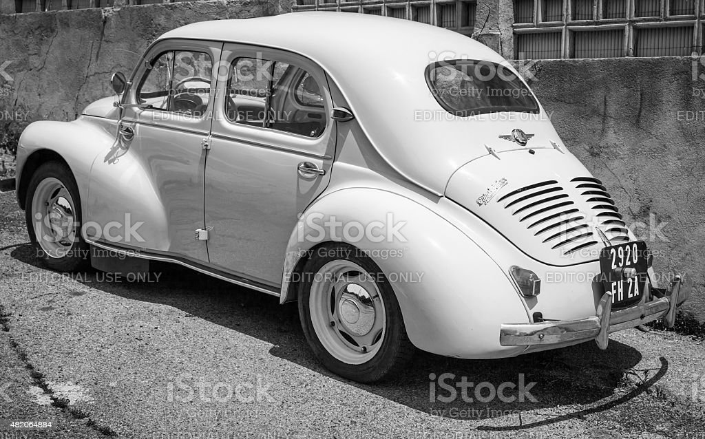 White Renault 4CV old-timer car