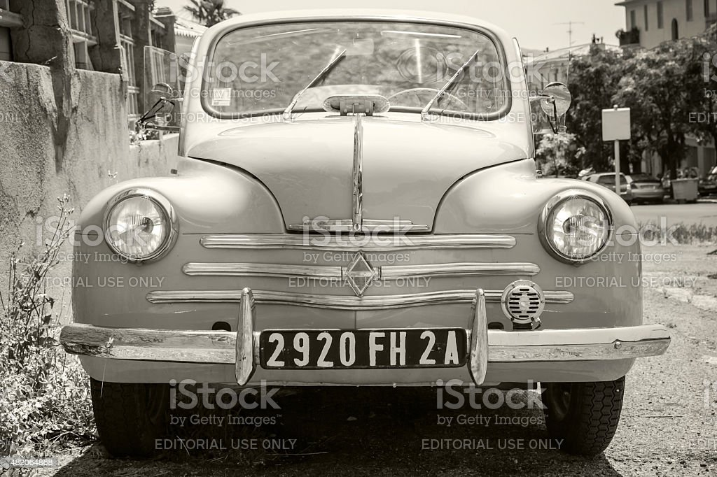 White Renault 4CV old-timer, front view