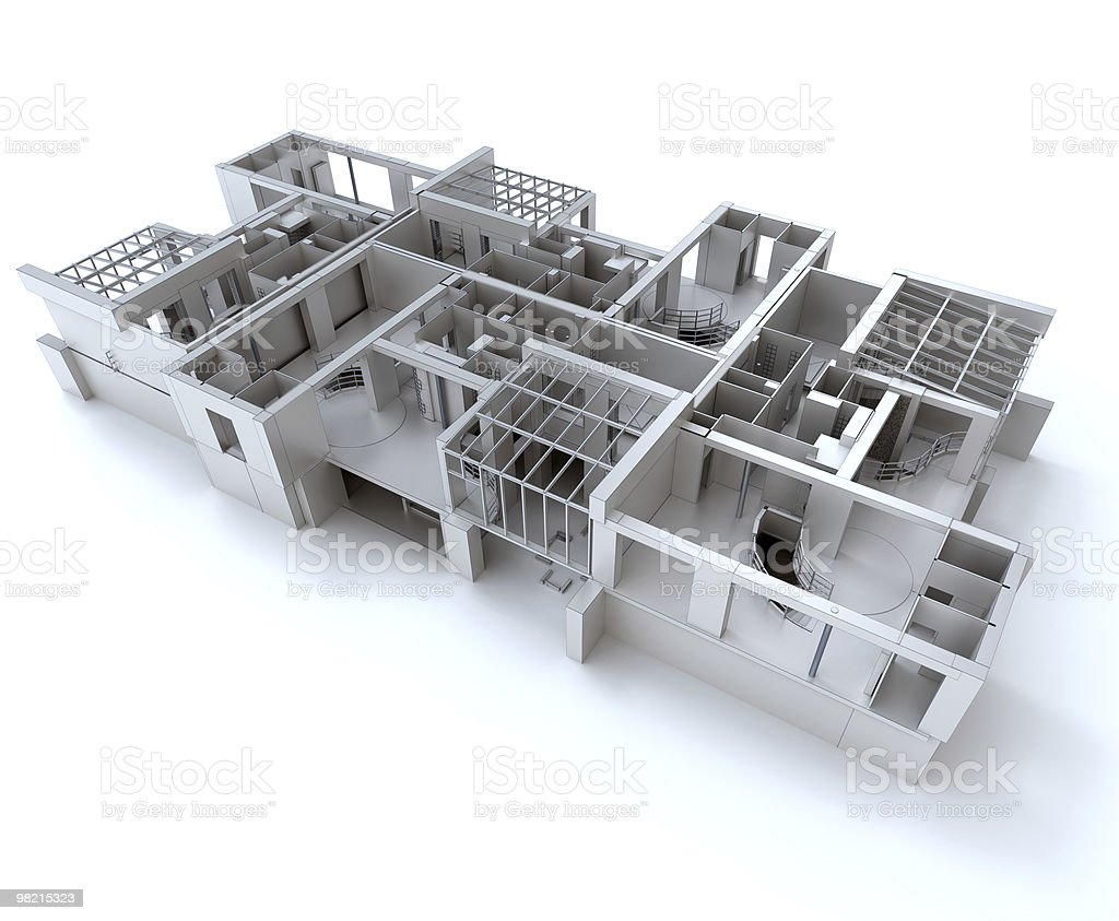 White residential complex structure royalty-free stock photo
