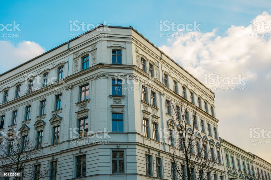 white residential corner building for real estate themes stock photo