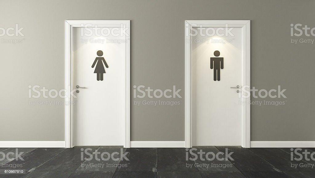 public bathroom doors. White Restroom Doors For Male And Female Stock Photo Public Bathroom IStock
