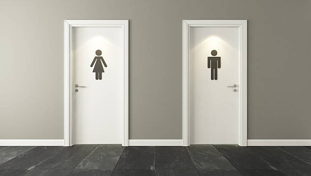 ... white restroom doors for male and female stock photo ...