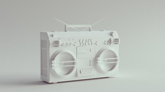 White Retro Boombox Stereo 3d illustration render